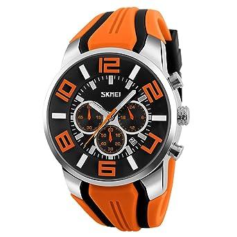 Moda Deporte Correa de Silicona Tres Pequeños Diales Reloj de Cuarzo Para Hombre, Naranja: Amazon.es: Relojes