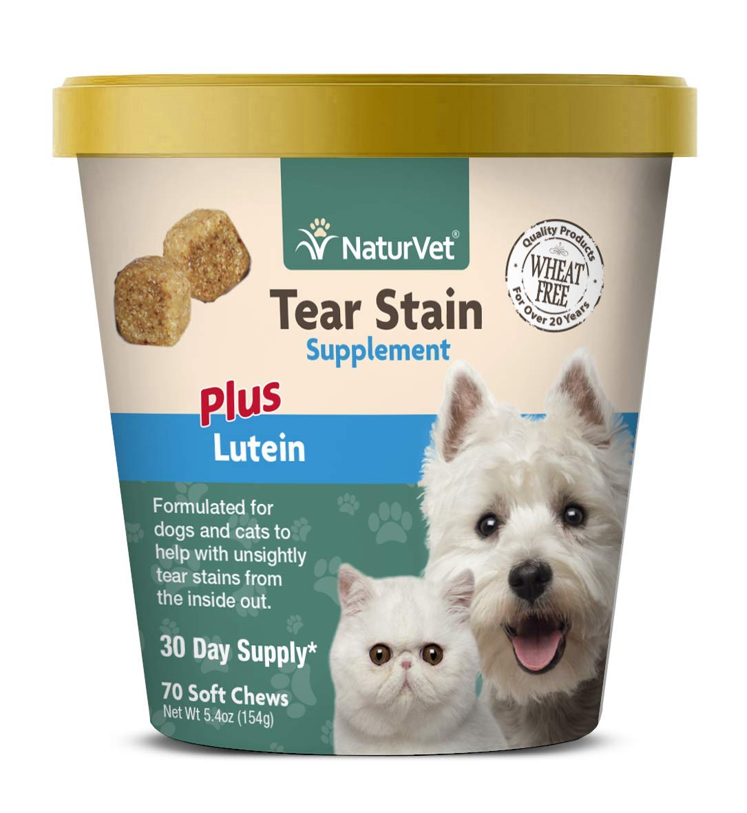 NaturVet - Tear Stain Plus Lutein - Eliminates Unsightly Tear Stains - Enhanced with Cranberry Extract, Marshmallow Root & Oregon Grape Root - for Dogs & Cats - 70 Soft Chews by NaturVet