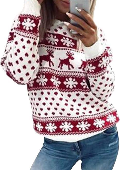 Damen Rentier Sweatshirt Weihnachten Pullover Herren Xmas Weihnachtspulli Tops