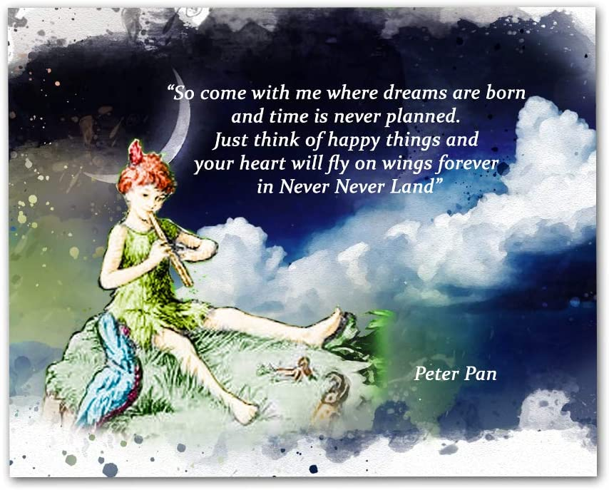 "Peter Pan Quotes Wall Art, 8""x10"" Unframed Art Print - Stunning Kitchen, Office, Bedroom, Childs Room, Room Wall Decor"