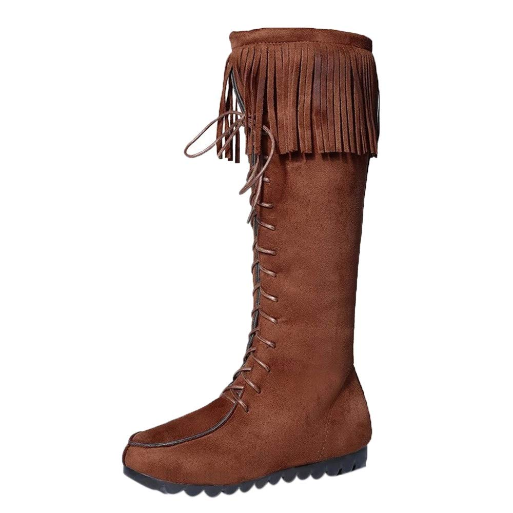 ⚡ HebeTop ⚡ Western Womens Fringe Moccasin Mid-Calf Boots Brown by HebeTop➟Shoes Accessory