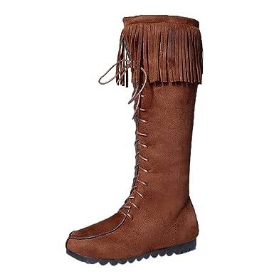 LILICAT Lacets femmes genou bottes longues frange talons plats bottes  longues gland genou botte haute bottes aa2b6ec5df1b