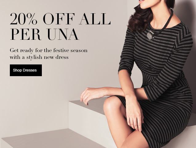 20% off all per una Get ready for the festive season with a stylish new dress