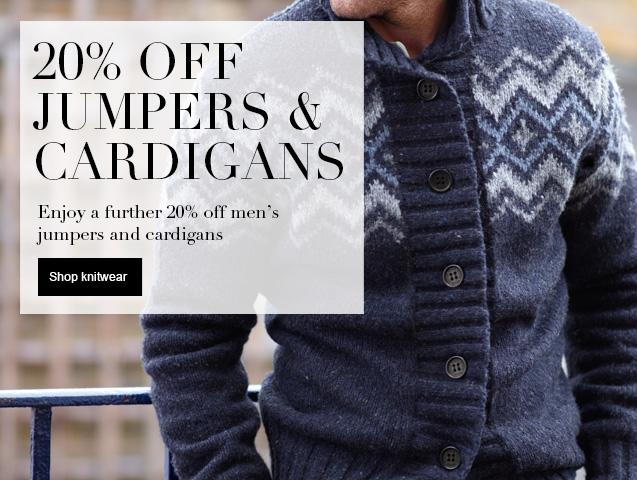 20% off Jumpers & Cardigans Enjoy a further 20% off mens Jumpers & Cardigans