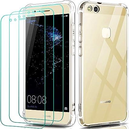 iVoler Custodia Cover per Huawei P10 Lite 3 Pezzi Pellicola Protettiva in Vetro Temperato, Ultra Sottile Morbido TPU Trasparente Silicone Antiurto ...