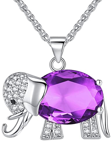 FLORAY Womens and Girls Pendant Necklace Purple High Quality Crystal Elephant Best Gift for Ladies kxkvdPxBRQ