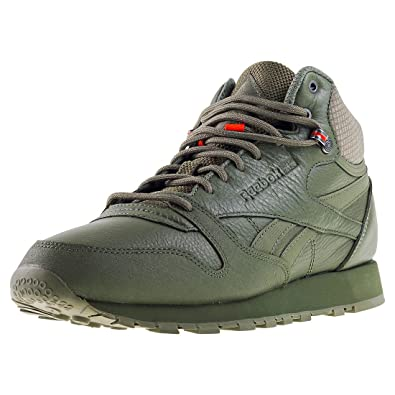 Reebok Cl Leather Mid TWD, Zapatillas de Deporte para Hombre, Verde (Hunter Green/Stone Grey/Energy Orange), 44.5 EU