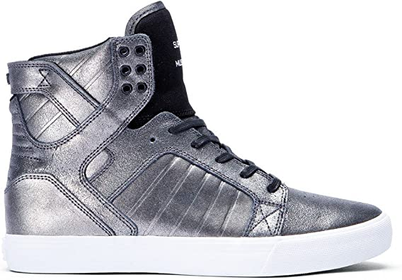 Supra Kids Boy's Skytop (Little KidBig Kid) Pewter LeatherBlack Canvas Athletic Shoe