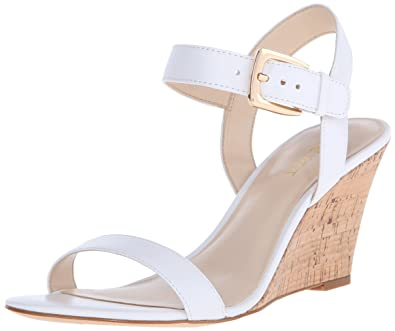 Nine West Women's Kiani Leather Wedge Sandal, White, ...