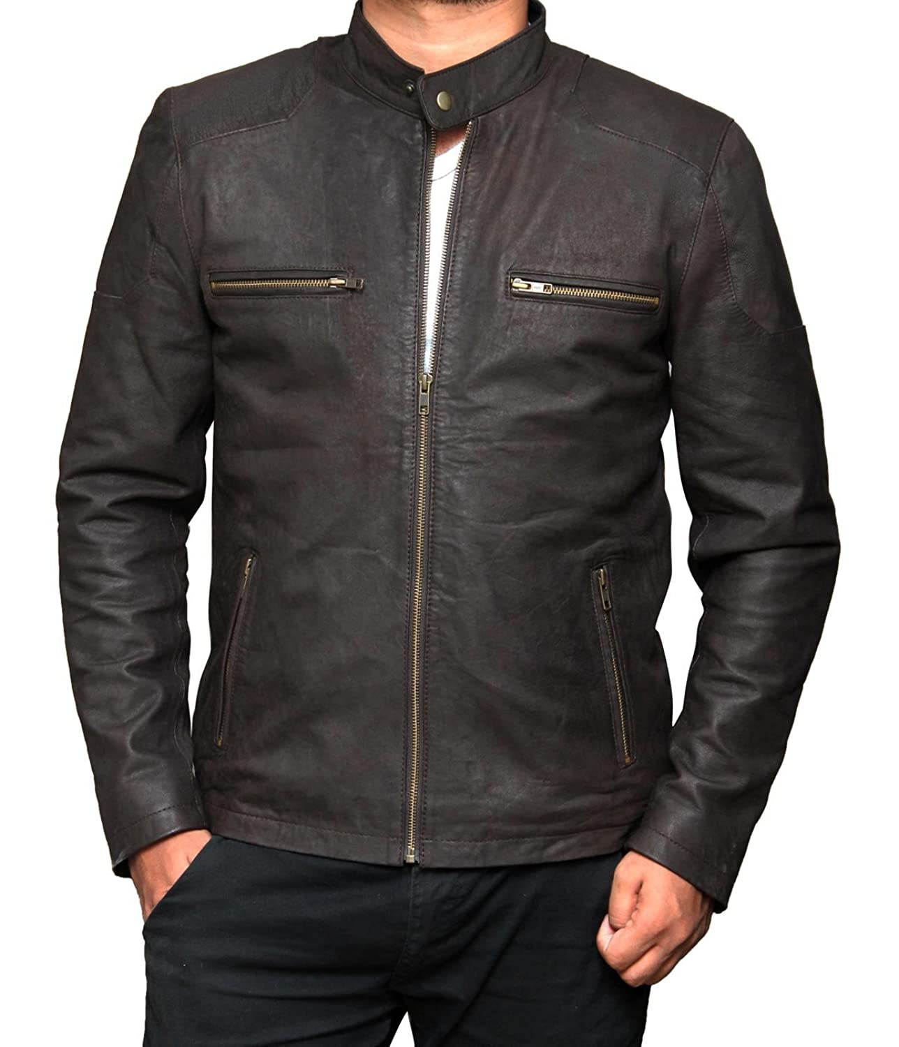 Mens Rogers Brown Leather Jacket Distressed at Amazon Men's ...
