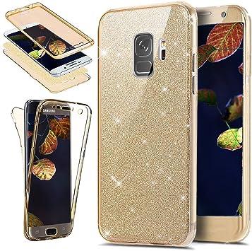 Ysimee Coque Samsung Galaxy S9, Silicone Paillette Brillante Étui pour Samsung Galaxy S9 Ultra Mince Transparente Double Gel Intégral Housse 360 ...