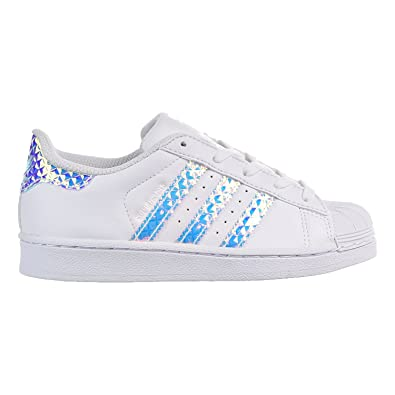Adidas Superstar C Little Kids (PS) Shoes White/White/Iridescent cg3597 (