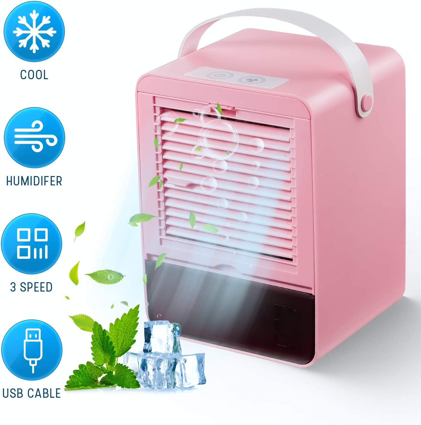 JIMACRO Portable Air Cooler, Small Air Conditioner Cooler and Humidifier, Purifier and Aroma Diffuser, 3 Fan Speeds, Air Cooling Fan for Home Office