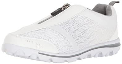 Propét Women's TravelActiv Zip Walking Shoe, White/Silver, ...