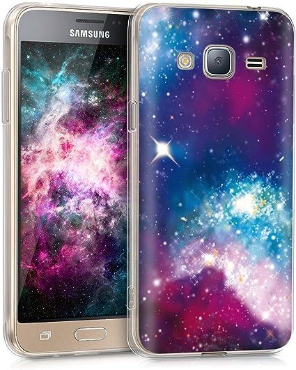 kwmobile Coque Compatible avec Samsung Galaxy J3 (2016) DUOS - Étui de Protection en Silicone - Galaxie Multicolore-Fuchsia-Noir