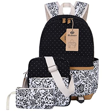 Amazon.com | BLUBOON Canvas Backpack Girls School Bags Set for ...