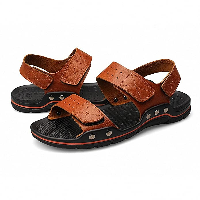 Men's Full-Grain Leather Fashion Slip Casual Stripes Beach Sandal