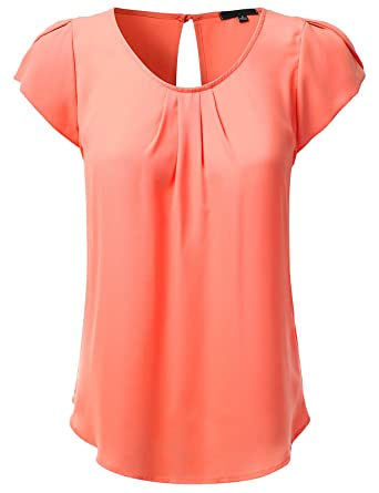 JJ Perfection Women's Petal Short Sleeve Woven Blouse at Amazon ...