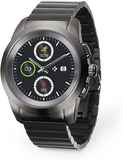 mykronoz zetime regular premium argent bracelet cuir noir