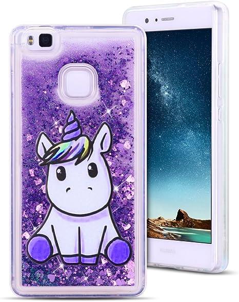 MoEvn Cover Huawei P9 Lite Custodia, Unicorno 3D Glitter Liquido Trasparente Sabbie Mobili Morbida TPU Silicone Sparkle Quicksand Antiurto Protezione ...