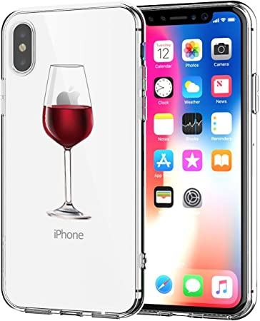 Caler Cover Compatibile con iPhone X Silicone, Custodia iPhone X Apple Originale Arancione Trasparente Animali Disegni Gel Morbido Marmo (Bicchiere di ...