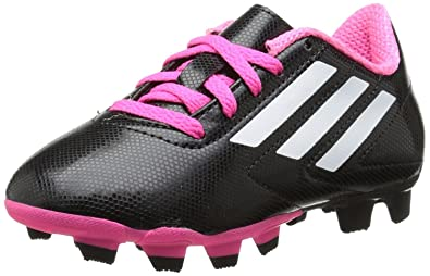 adidas Youth Conquisto FG J Soccer Cleats - Black/White/Pink (2Y)