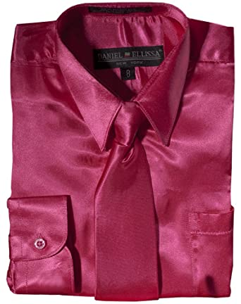 Amazon.com: Daneil Ellissa Boys&39 Long Sleeve Satin Dress Shirt ...