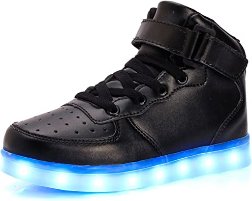 BADIER Kids High Top Led Lighting Shoes Boys Light Glow Up