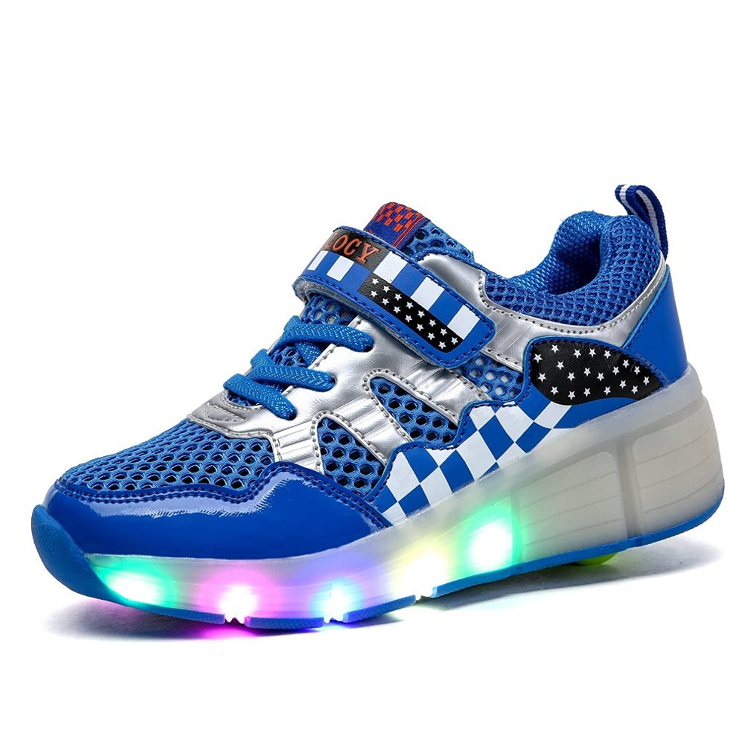 Amazon.com | VILOCY Unisex Children LED Light Up Shoes Roller Skate Shoes  Flashing Sneakers | Sneakers