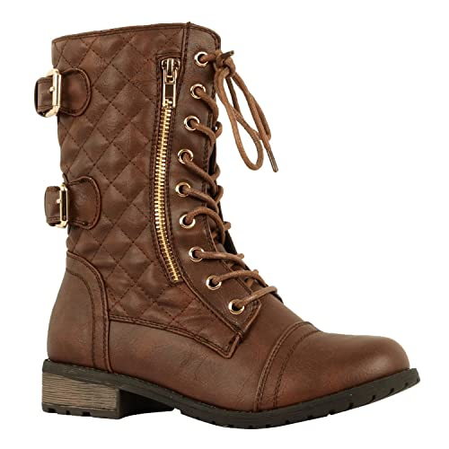 Womens Combat Buckle Mid-Calf Lace-Up Boot