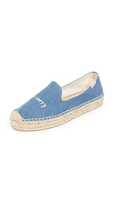 Soludos x Ashkahn Women'S Platform Smoking Slipper Sorry Not Sorry Denim-Denim-8 Size 8 N3aOQq
