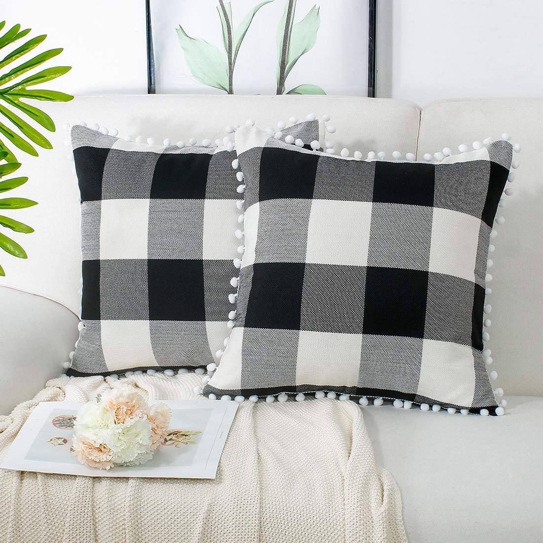 2 Pcs Buffalo Plaid Check Throw Pillow