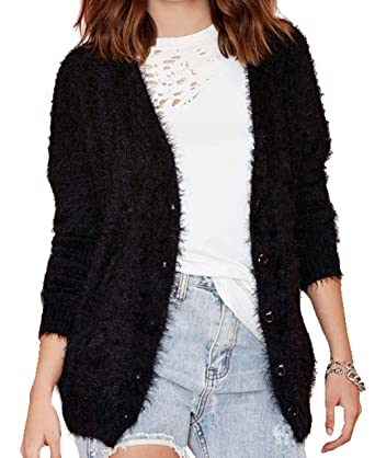 Wishw. Women's Long Plush Slim V Neck Cute Cardigans Black ...