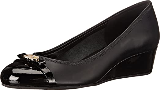 Cole Haan Women's Elsie Logo Wedge II Black/Patent Wedge 9 B ...