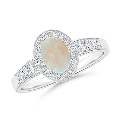 Angara Oval Shaped Opal Bypass Ring in Yellow Gold - October Birthstone Ring 5Ocna