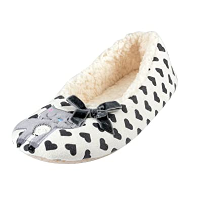 Ladies Grey Kitty Cat Slippers With Faux Sheepskin Lining & Non Slip Soles