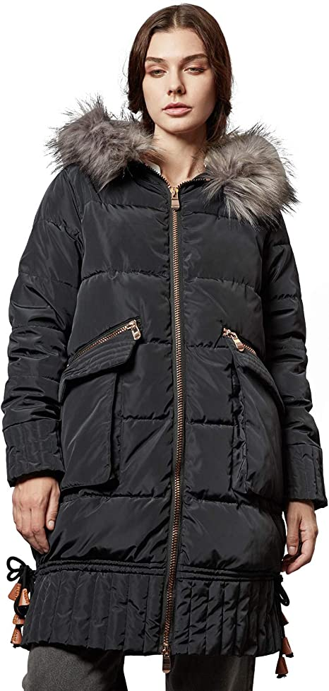 ANNA&CHRIS Escalier Women's Warm Long Puffer Coat Winter Thickened Parka Hooded Jackets with Faux Fur Collar