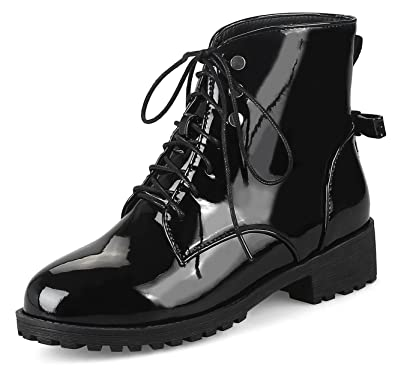 Women's Comfort Burnished Round Toe Ankle Boots Lace Up Chunky Low Heel Booties