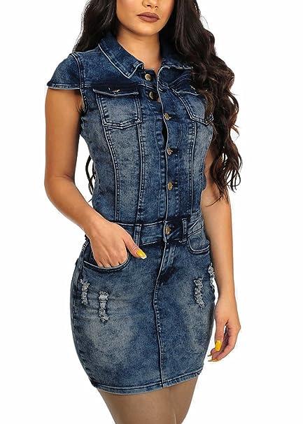 edff0707e3bc TieNew Donna Elegante Vestito Abito Corto Camicia Lunga Jeans Casual  Elegante Cotone Manica Lunga Ufficio