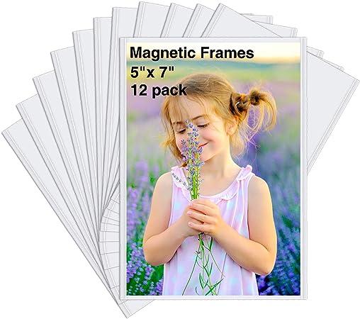 HIIMIEI Cuadros magnéticos refrigerador 5x7, Paquete de 12 imanes para refrigerador Marco de Fotos Foto Mangas (Blanco): Amazon.es: Hogar