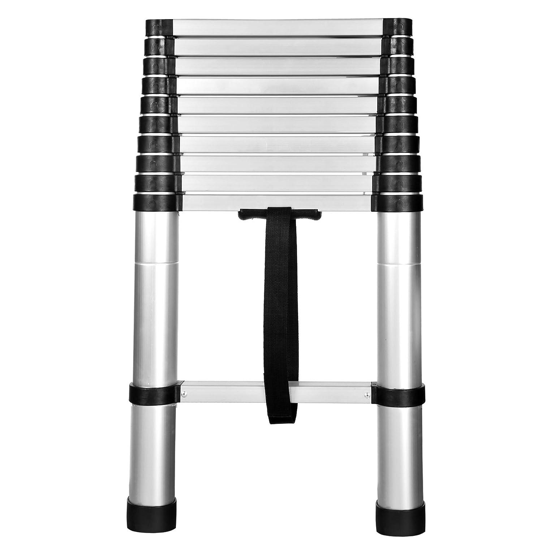2,5m + 2,5m Buyi-World Klappleiter Teleskopleiter Anlegeleiter Mehrzweckleiter Stehleiter aus Aluminium 150kg 8 Stufen 5m