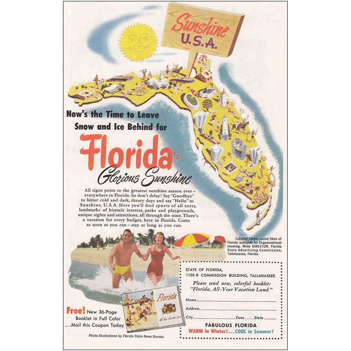 Amazon com: RelicPaper 1952 Florida: Summertime, Come on Down