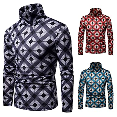 3fc8886613c922 TaLs9yLI Sweaters for Men Winter Men Rhombus Cross Stripe High Neck Long  Sleeve Jumper Slim Pullover