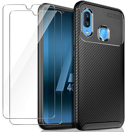 AROYI Funda Samsung Galaxy A40 Silicona + 2 x Protector Pantalla Cristal Templado, Samsung Galaxy A40 Negro Carcasa Case Cover con Fibra de Carbono ...