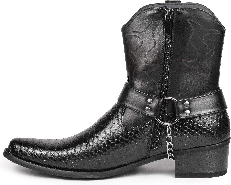 Metrocharm Diego-01 Mens Belt Buckle Chain Strap Western Cowboy Boots