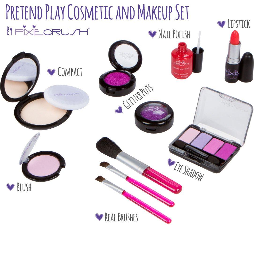 PixieCrush Pretend Play Cosmetic and Makeup Set. 13 Piece Designer Kit with Pink Polka Dot Handbag by PixieCrush (Image #2)