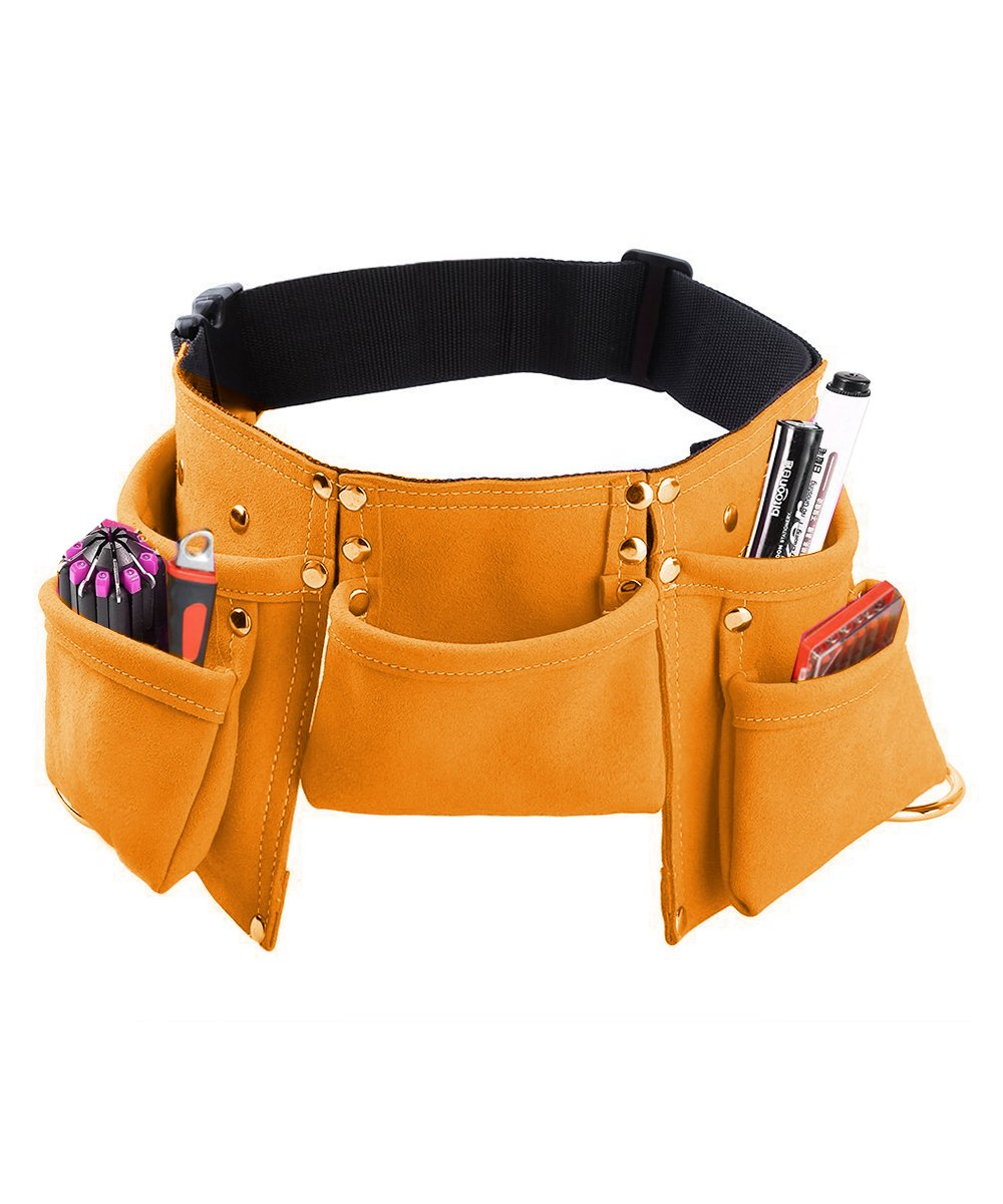 Kids Tool Belt, Monocho Kids Construction Tool Belt Real Suede Leather Children's Tool Pouch with 7 Pockets for Boy and Girl Costumes Dress Up Role Play Adjustable Size for Ages 2-14 (Brown)