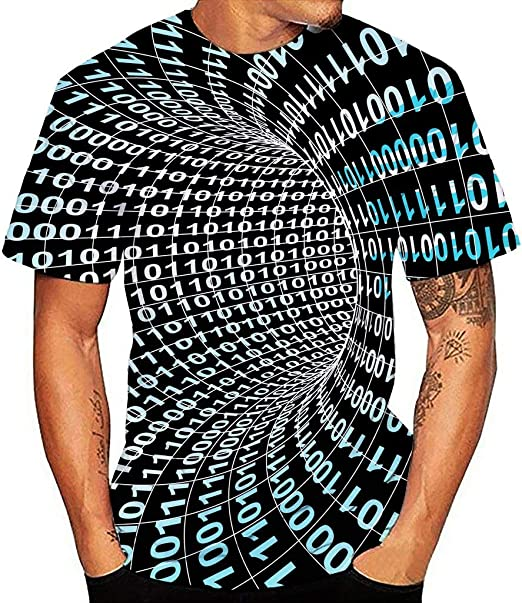Men/'s Cotton Round Neck Short Sleeve T-Shirt Camouflage Vertigo Hypnosis 3D Prin
