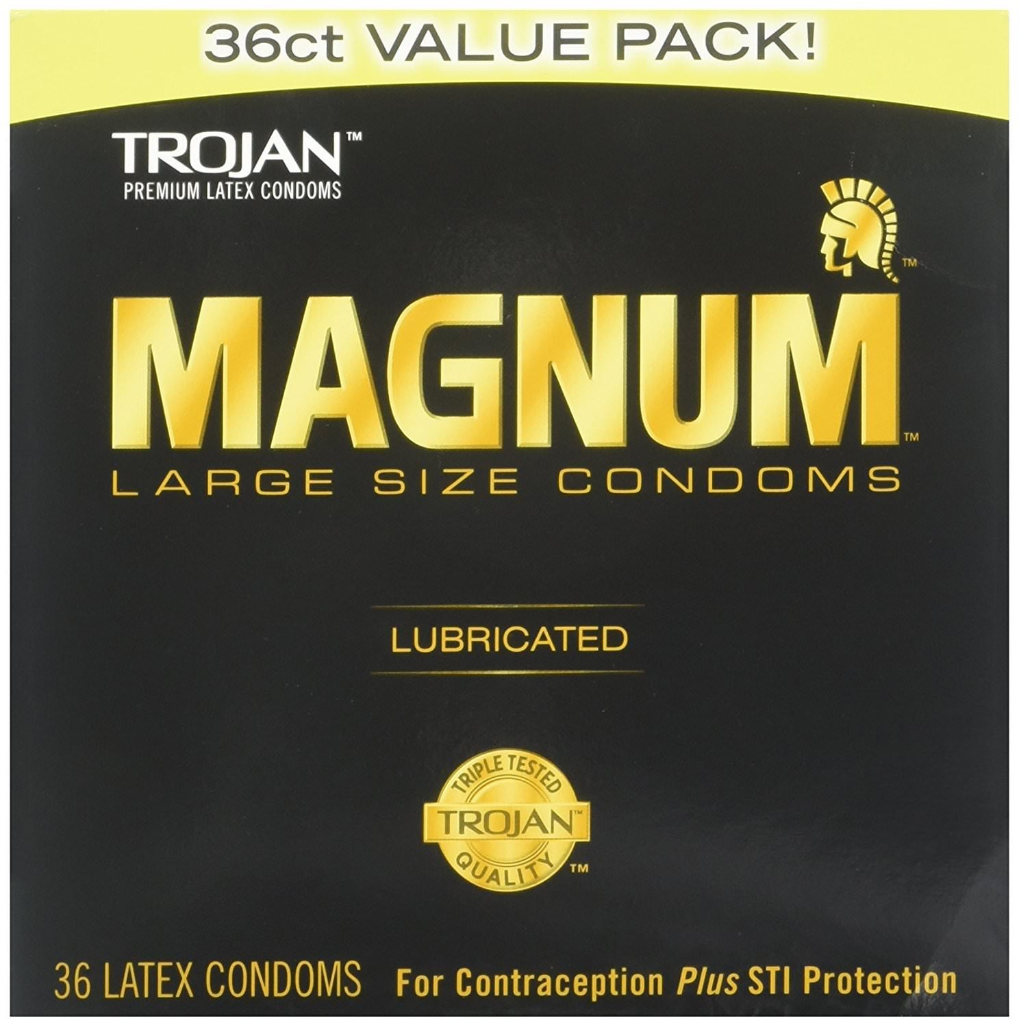 Magnum Lubricated Latex Large Size Condoms, 2 Boxes (36 Condoms) by TROJAN