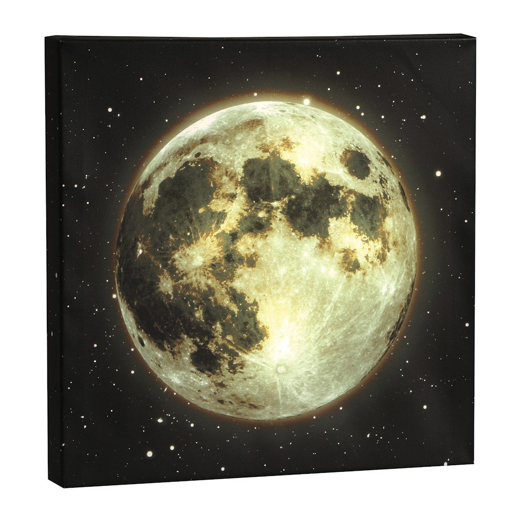 Amazon.com: Wall Art - Moon LED Lighted Canvas Stretched Over Wood ...